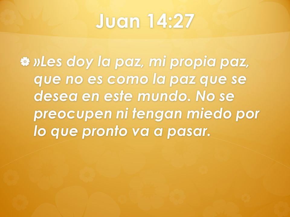Juan 14:27 »Les doy la paz, mi propia paz, que no es como la paz que se desea en este mundo. No se preocupen ni tengan miedo por lo que pronto va a pa
