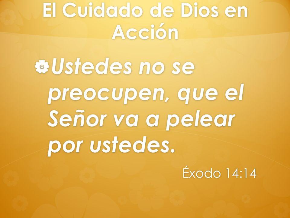 El Cuidado de Dios en Acción Ustedes no se preocupen, que el Señor va a pelear por ustedes. Ustedes no se preocupen, que el Señor va a pelear por uste