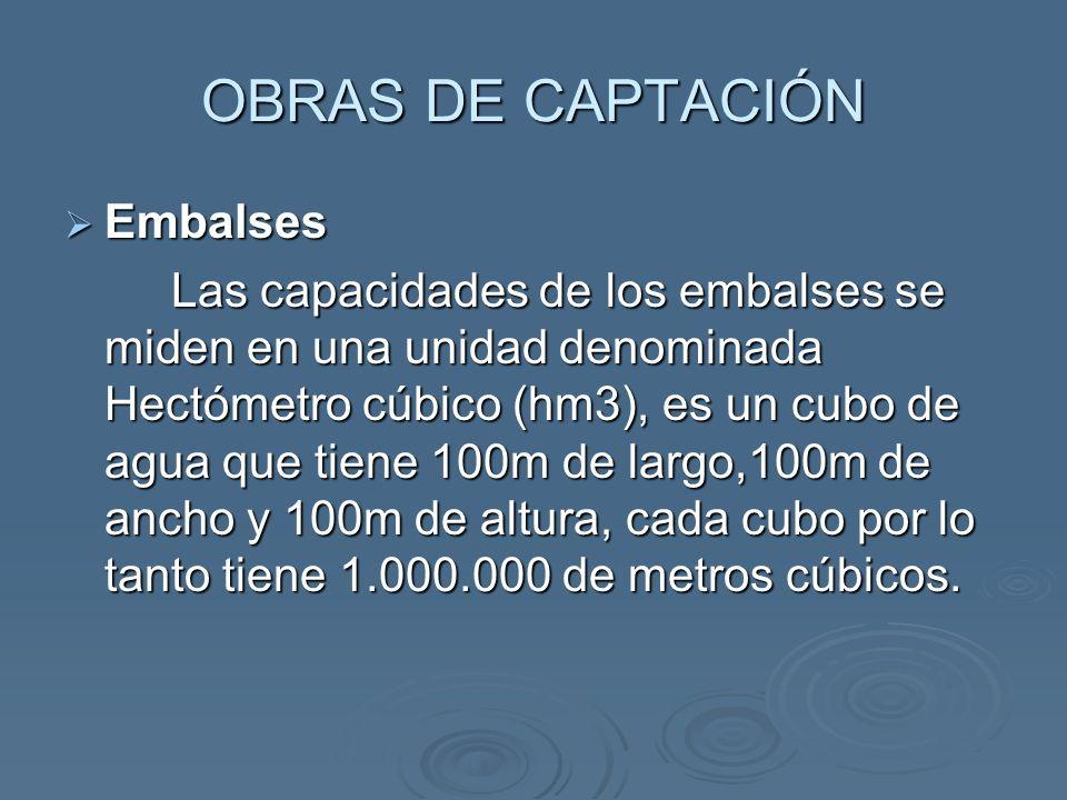 OBRAS DE CAPTACIÓN Embalses Embalses Las capacidades de los embalses se miden en una unidad denominada Hectómetro cúbico (hm3), es un cubo de agua que tiene 100m de largo,100m de ancho y 100m de altura, cada cubo por lo tanto tiene 1.000.000 de metros cúbicos.