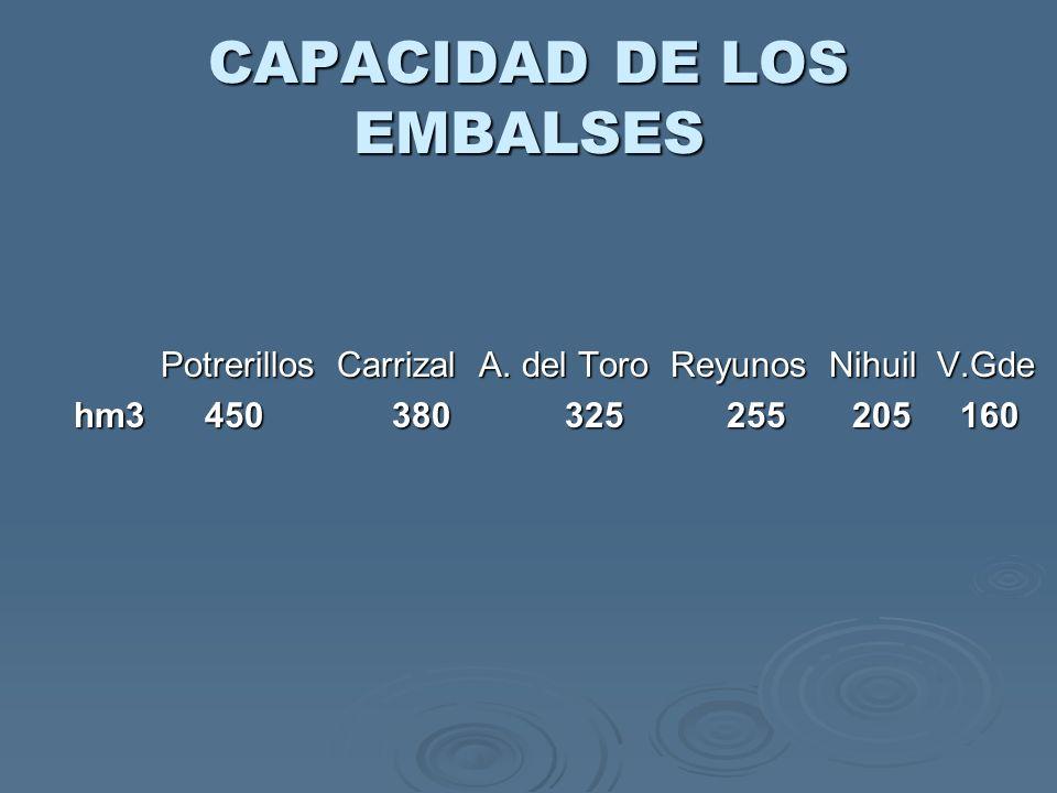 CAPACIDAD DE LOS EMBALSES Potrerillos Carrizal A. del Toro Reyunos Nihuil V.Gde Potrerillos Carrizal A. del Toro Reyunos Nihuil V.Gde hm3 450 380 325