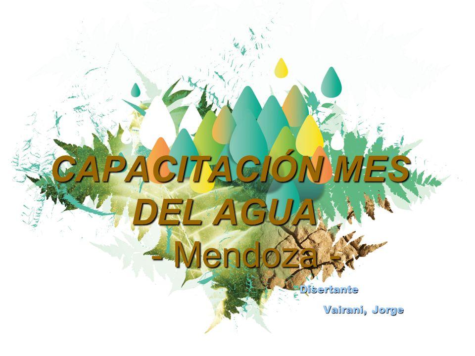 CAPACITACIÓN MES DEL AGUA - Mendoza - CAPACITACIÓN MES DEL AGUA - Mendoza - Disertante Vairani, Jorge Disertante Vairani, Jorge