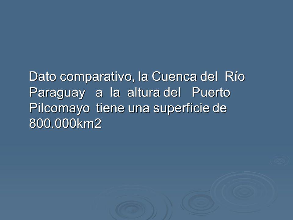 Dato comparativo, la Cuenca del Río Paraguay a la altura del Puerto Pilcomayo tiene una superficie de 800.000km2 Dato comparativo, la Cuenca del Río P