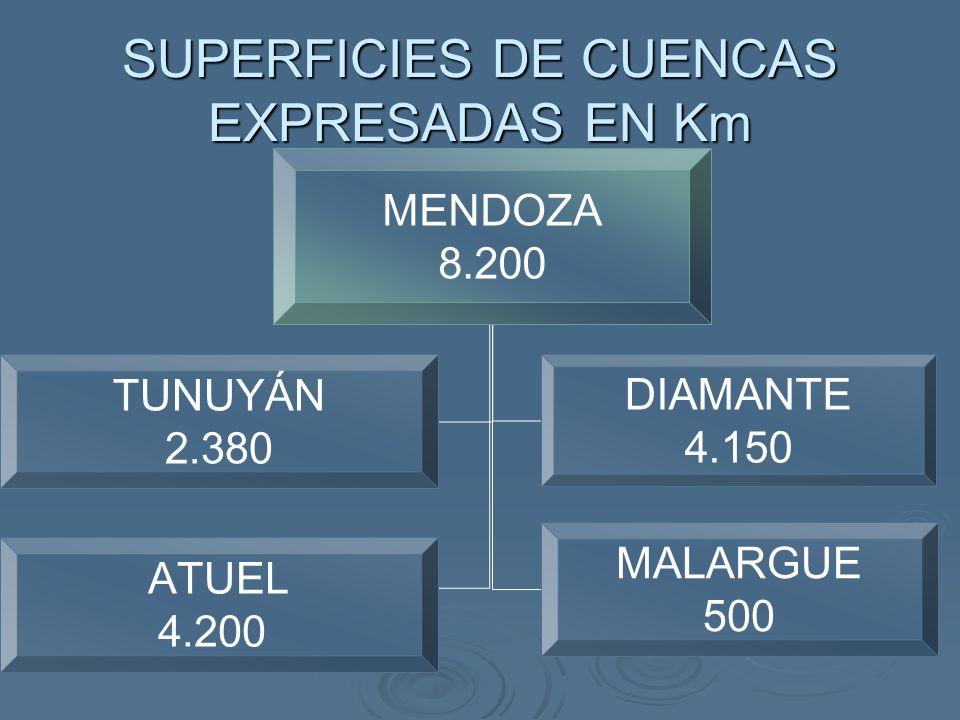 SUPERFICIES DE CUENCAS EXPRESADAS EN Km MENDOZA 8.200 TUNUYÁN 2.380 DIAMANTE 4.150 ATUEL 4.200 MALARGUE 500