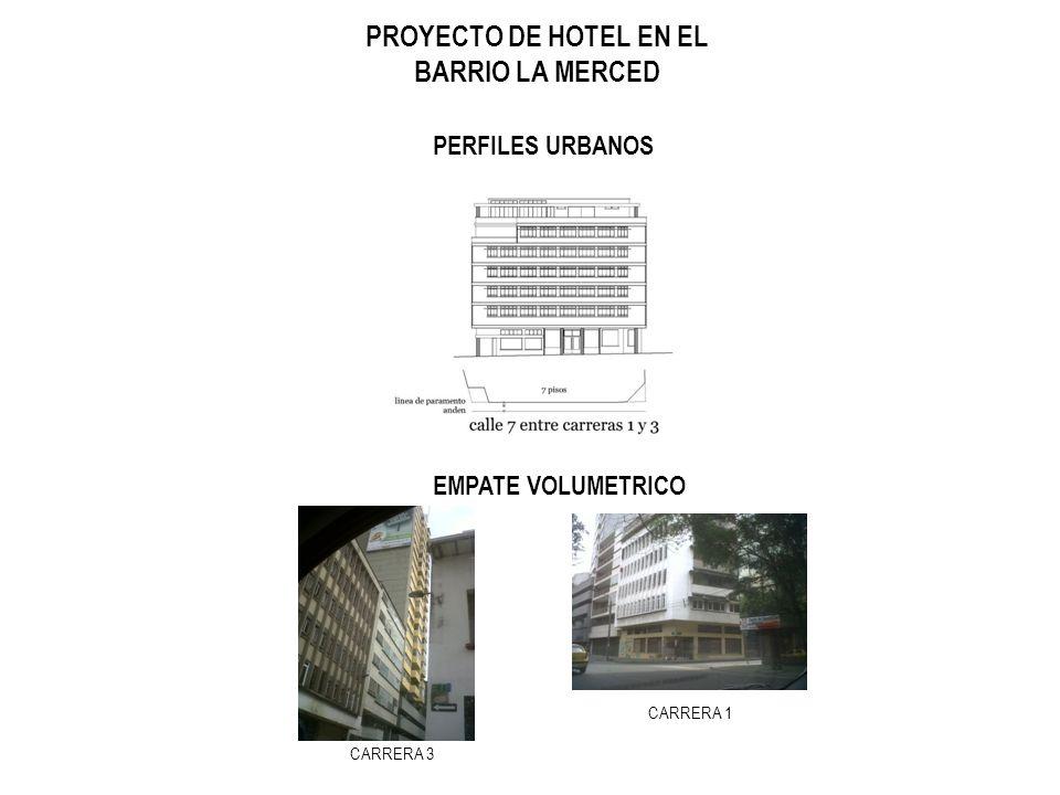 PROYECTO DE HOTEL EN EL BARRIO LA MERCED PERFILES URBANOS EMPATE VOLUMETRICO CARRERA 3 CARRERA 1