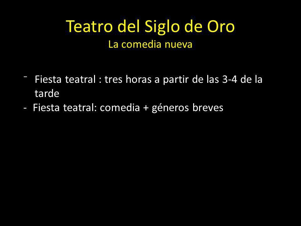 Teatro del Siglo de Oro La comedia nueva Fiesta teatral : tres horas a partir de las 3-4 de la tarde -Fiesta teatral: comedia + géneros breves