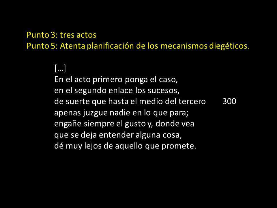 Punto 3: tres actos Punto 5: Atenta planificación de los mecanismos diegéticos. […] En el acto primero ponga el caso, en el segundo enlace los sucesos