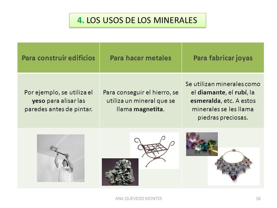ANA QUEVEDO MONTES16 4. LOS USOS DE LOS MINERALES Para construir edificiosPara hacer metalesPara fabricar joyas Por ejemplo, se utiliza el yeso para a