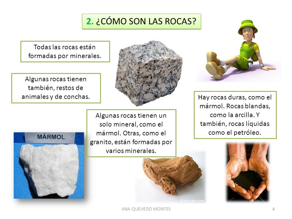 ANA QUEVEDO MONTES4 2. ¿CÓMO SON LAS ROCAS? Todas las rocas están formadas por minerales. Hay rocas duras, como el mármol. Rocas blandas, como la arci