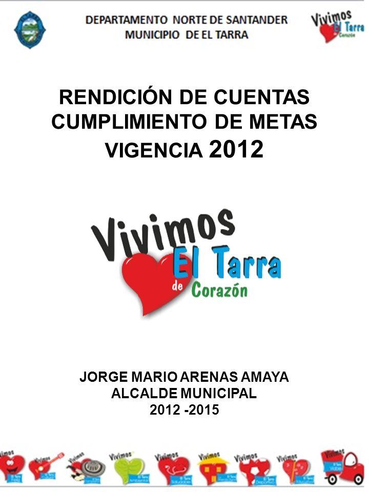 RENDICIÓN DE CUENTAS CUMPLIMIENTO DE METAS VIGENCIA 2012 JORGE MARIO ARENAS AMAYA ALCALDE MUNICIPAL 2012 -2015