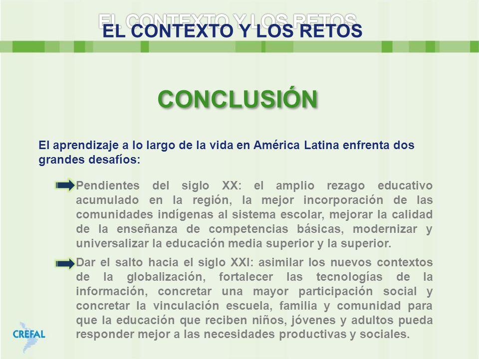 EL CONTEXTO Y LOS RETOS El aprendizaje a lo largo de la vida en América Latina enfrenta dos grandes desafíos: CONCLUSIÓN Dar el salto hacia el siglo X