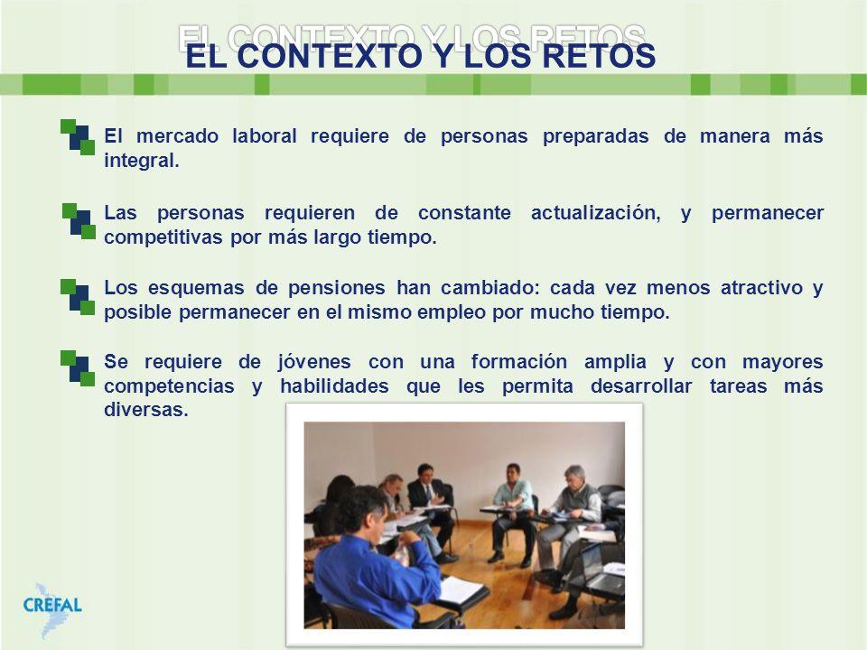 EL CONTEXTO Y LOS RETOS El mercado laboral requiere de personas preparadas de manera más integral. Las personas requieren de constante actualización,