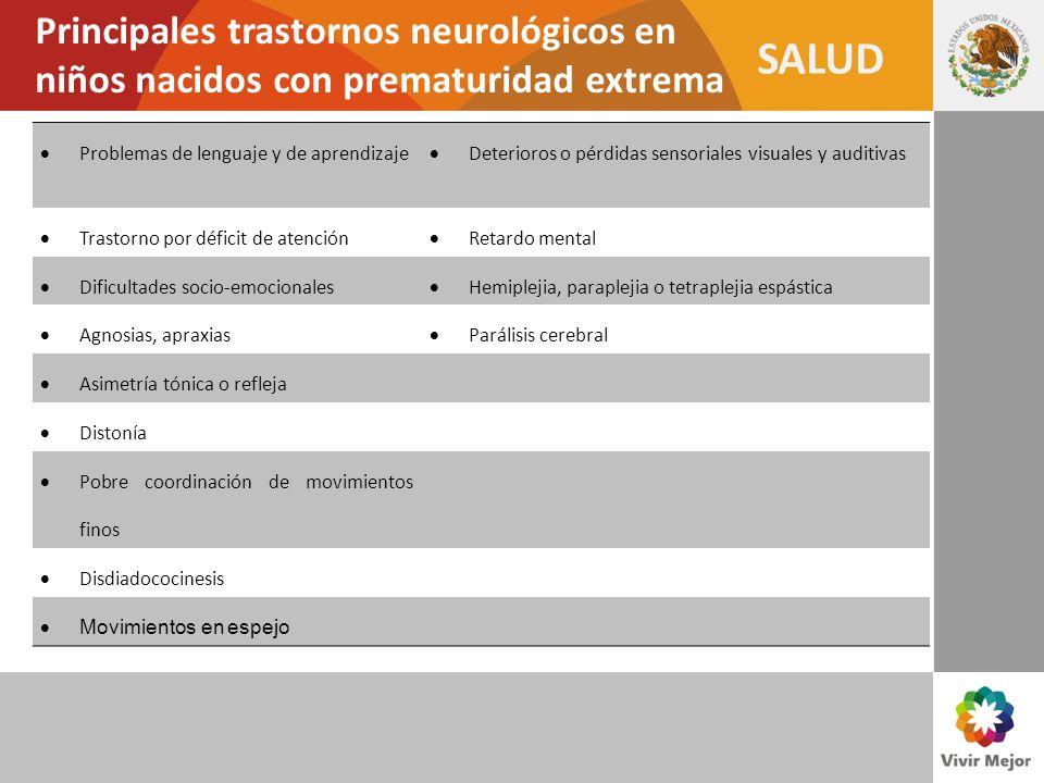 SALUD Principales trastornos neurológicos en niños nacidos con prematuridad extrema Problemas de lenguaje y de aprendizaje Deterioros o pérdidas senso