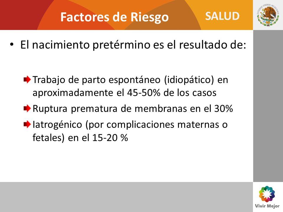 SALUD Factores de Riesgo El nacimiento pretérmino es el resultado de: Trabajo de parto espontáneo (idiopático) en aproximadamente el 45-50% de los cas