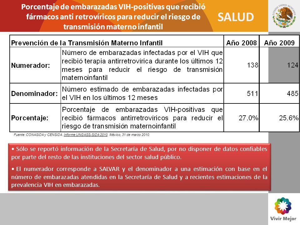 SALUD Porcentaje de embarazadas VIH-positivas que recibió fármacos anti retrovíricos para reducir el riesgo de transmisión materno infantil Sólo se re