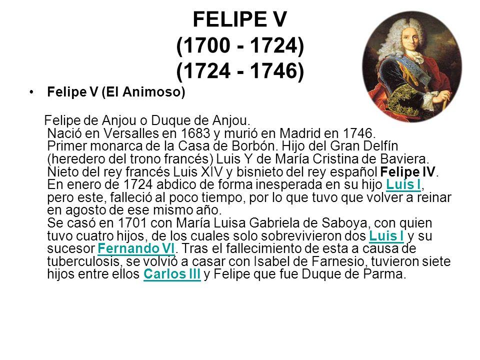 FELIPE V (1700 - 1724) (1724 - 1746) Felipe V (El Animoso) Felipe de Anjou o Duque de Anjou. Nació en Versalles en 1683 y murió en Madrid en 1746. Pri