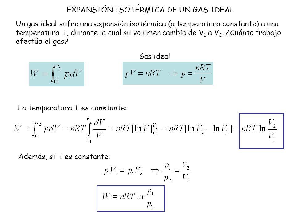 EXPANSIÓN ISOTÉRMICA DE UN GAS IDEAL Un gas ideal sufre una expansión isotérmica (a temperatura constante) a una temperatura T, durante la cual su vol