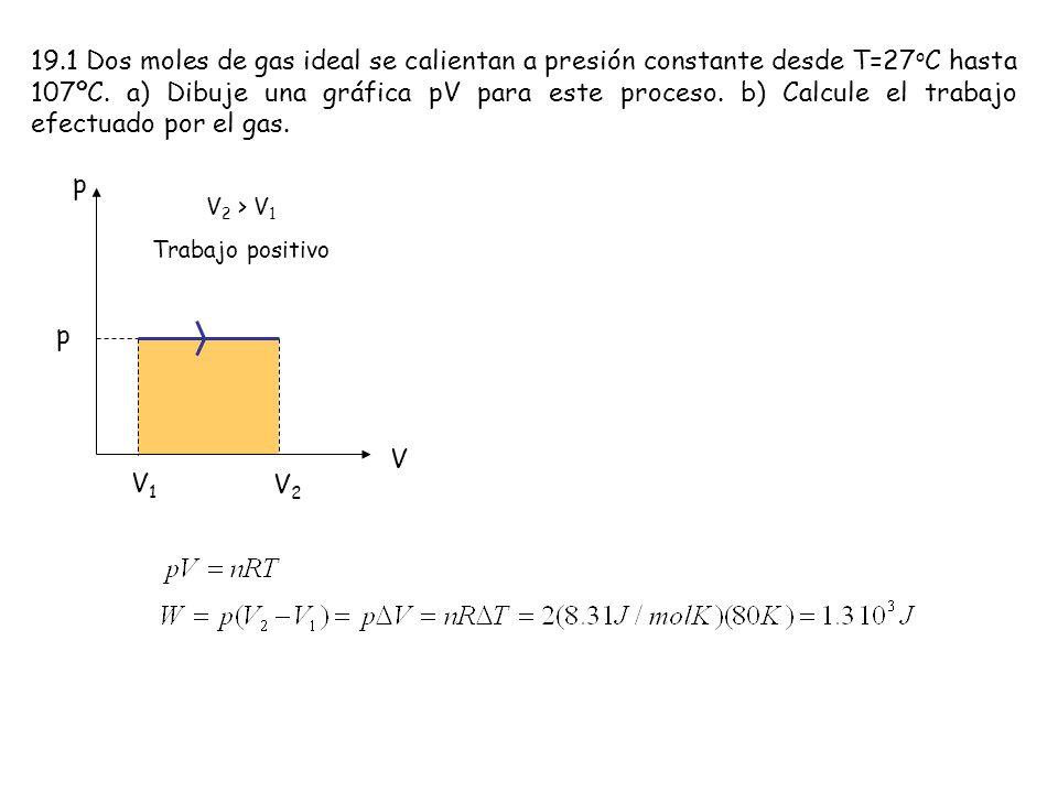 19.1 Dos moles de gas ideal se calientan a presión constante desde T=27 o C hasta 107ºC. a) Dibuje una gráfica pV para este proceso. b) Calcule el tra