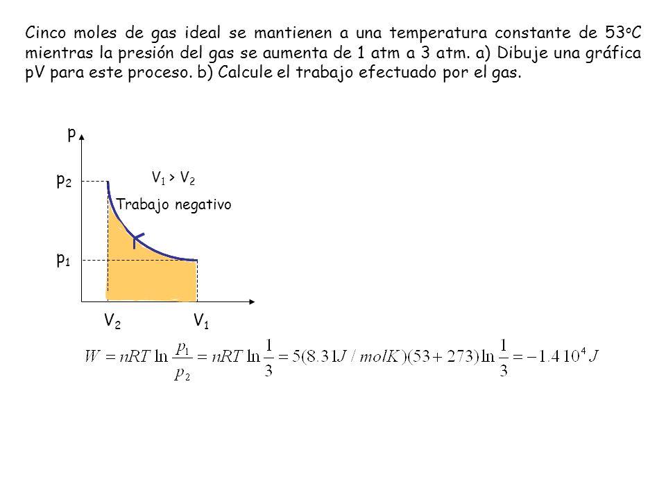Cinco moles de gas ideal se mantienen a una temperatura constante de 53 o C mientras la presión del gas se aumenta de 1 atm a 3 atm. a) Dibuje una grá