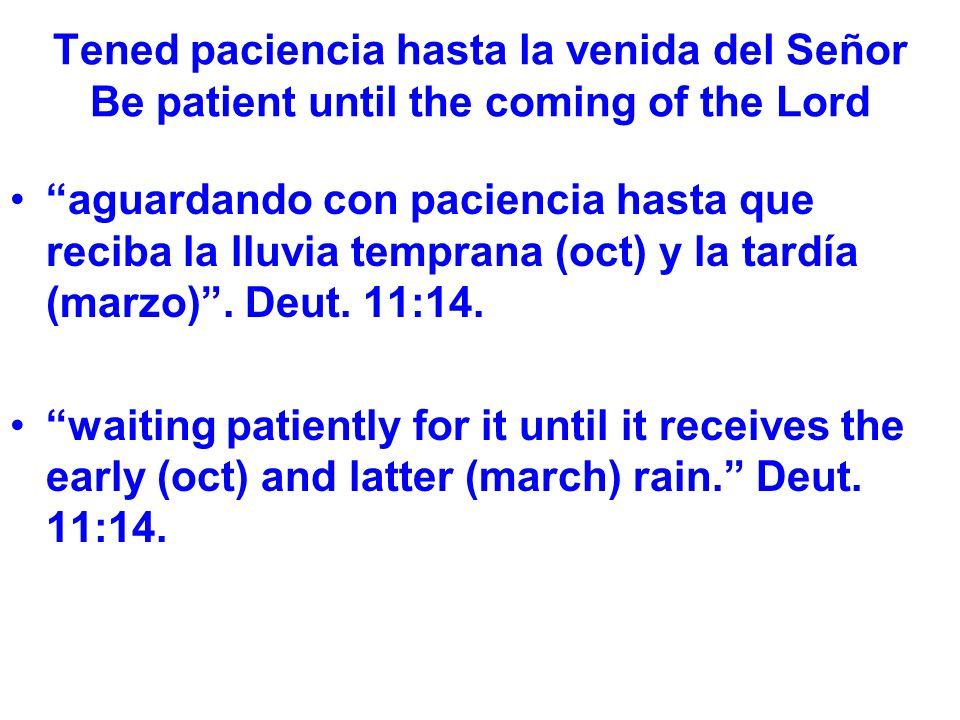 Tened paciencia hasta la venida del Señor Be patient until the coming of the Lord aguardando con paciencia hasta que reciba la lluvia temprana (oct) y la tardía (marzo).