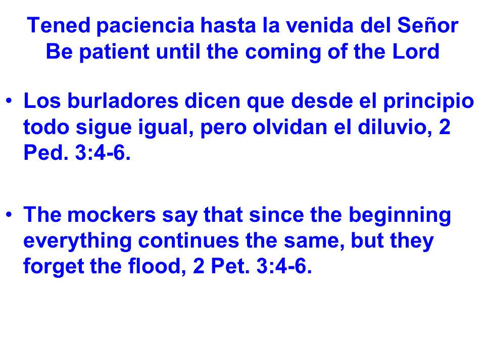 Tened paciencia hasta la venida del Señor Be patient until the coming of the Lord Los burladores dicen que desde el principio todo sigue igual, pero olvidan el diluvio, 2 Ped.
