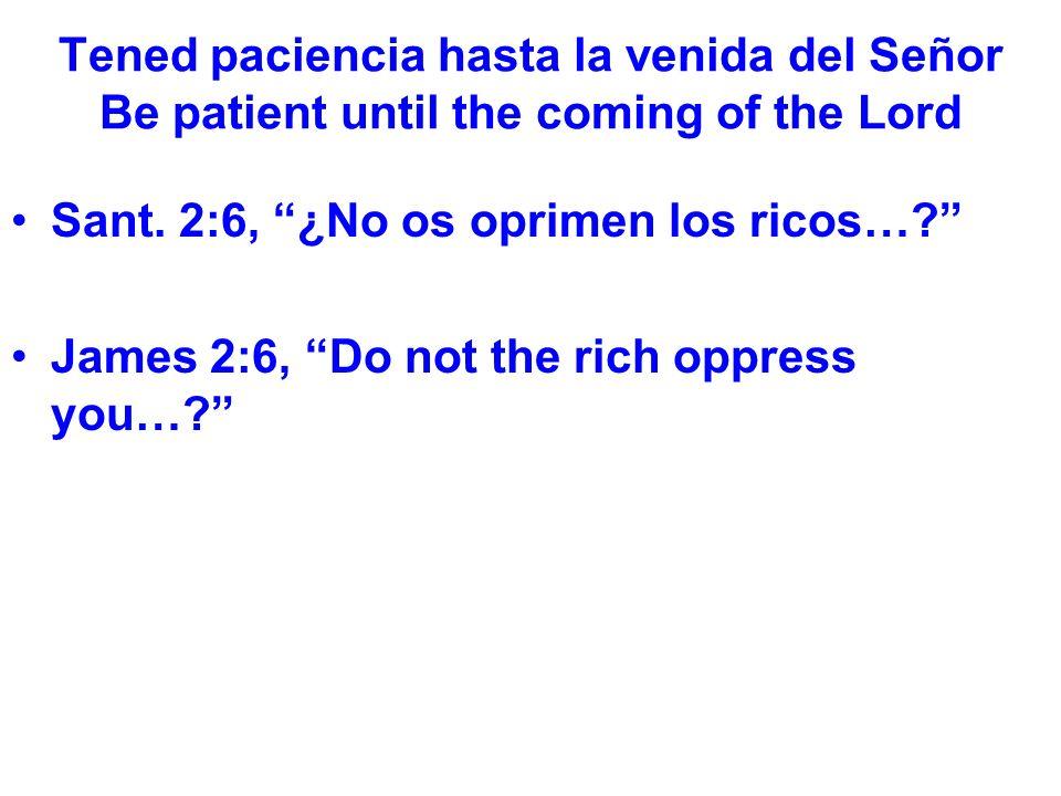 Tened paciencia hasta la venida del Señor Be patient until the coming of the Lord Es difícil ver el fin.