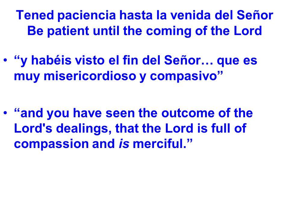 Tened paciencia hasta la venida del Señor Be patient until the coming of the Lord y habéis visto el fin del Señor… que es muy misericordioso y compasi