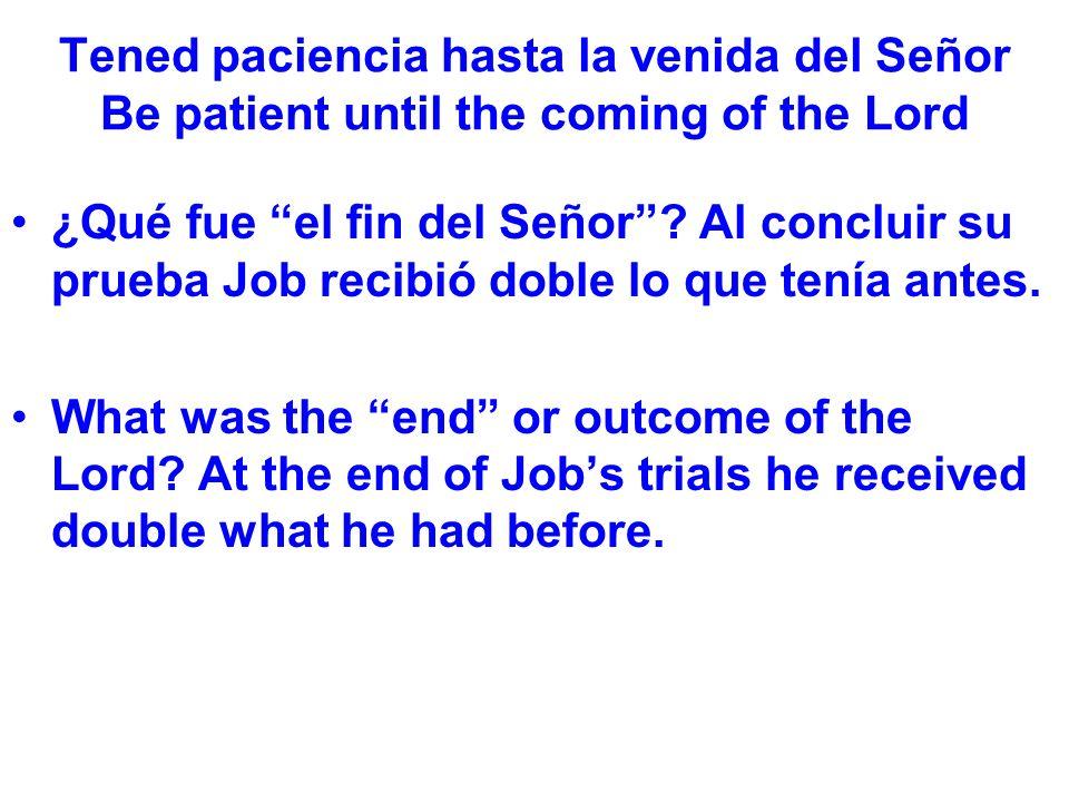 Tened paciencia hasta la venida del Señor Be patient until the coming of the Lord ¿Qué fue el fin del Señor.