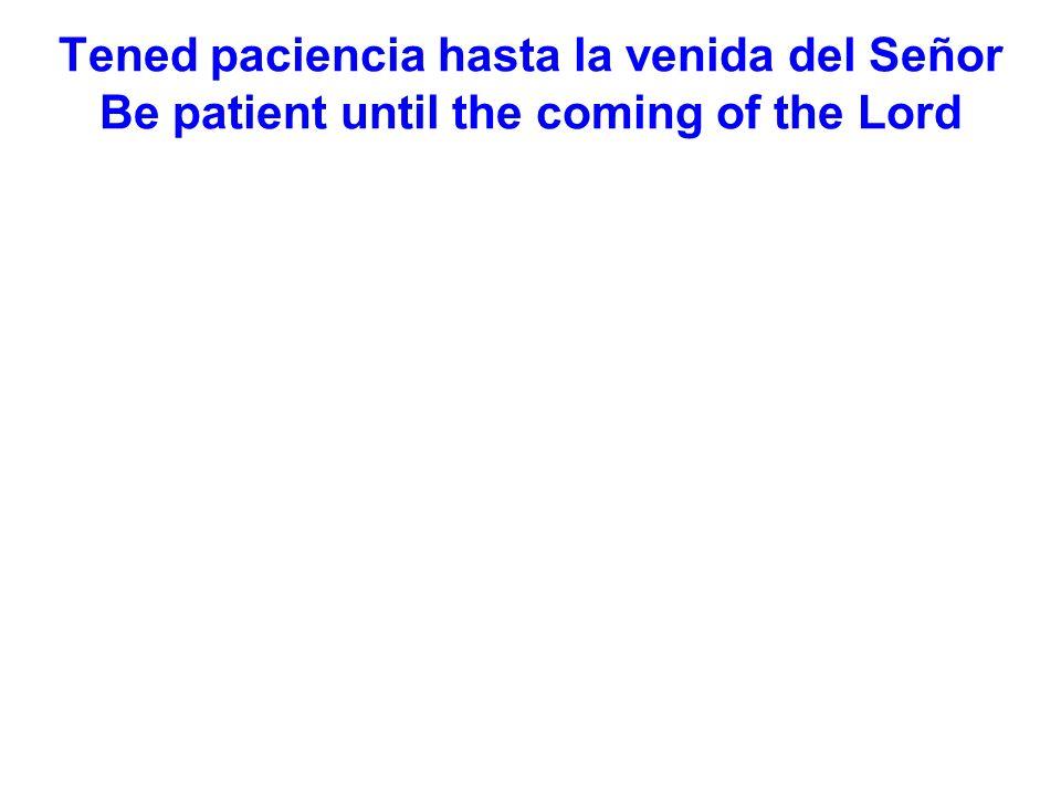Tened paciencia hasta la venida del Señor Be patient until the coming of the Lord