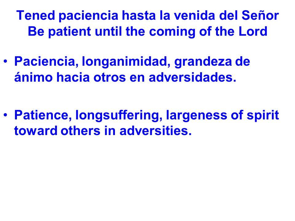 Tened paciencia hasta la venida del Señor Be patient until the coming of the Lord No fácilmente enojado (1:19) o amargado.
