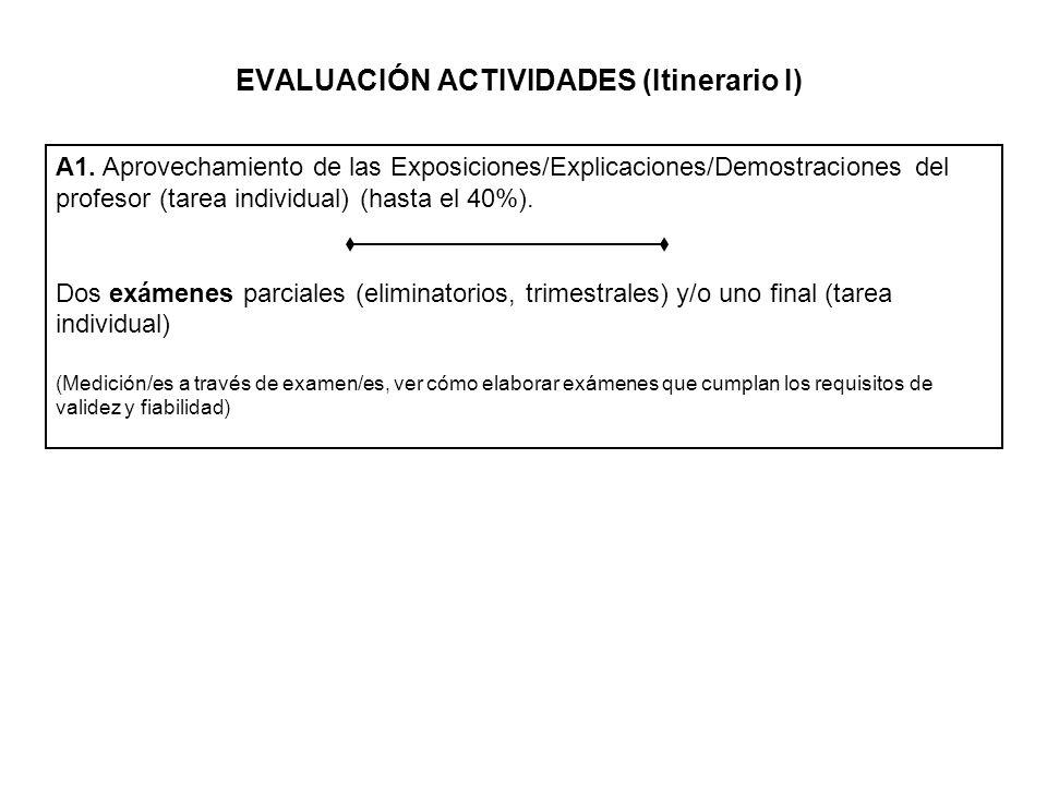 EVALUACIÓN ACTIVIDADES (Itinerario I) A1. Aprovechamiento de las Exposiciones/Explicaciones/Demostraciones del profesor (tarea individual) (hasta el 4