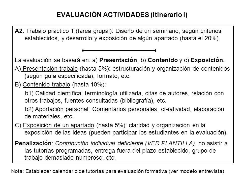 EVALUACIÓN ACTIVIDADES (Itinerario I) A2. Trabajo práctico 1 (tarea grupal): Diseño de un seminario, según criterios establecidos, y desarrollo y expo