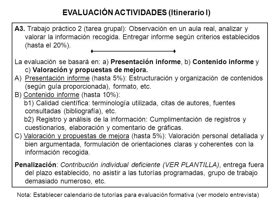 A3. Trabajo práctico 2 (tarea grupal): Observación en un aula real, analizar y valorar la información recogida. Entregar informe según criterios estab