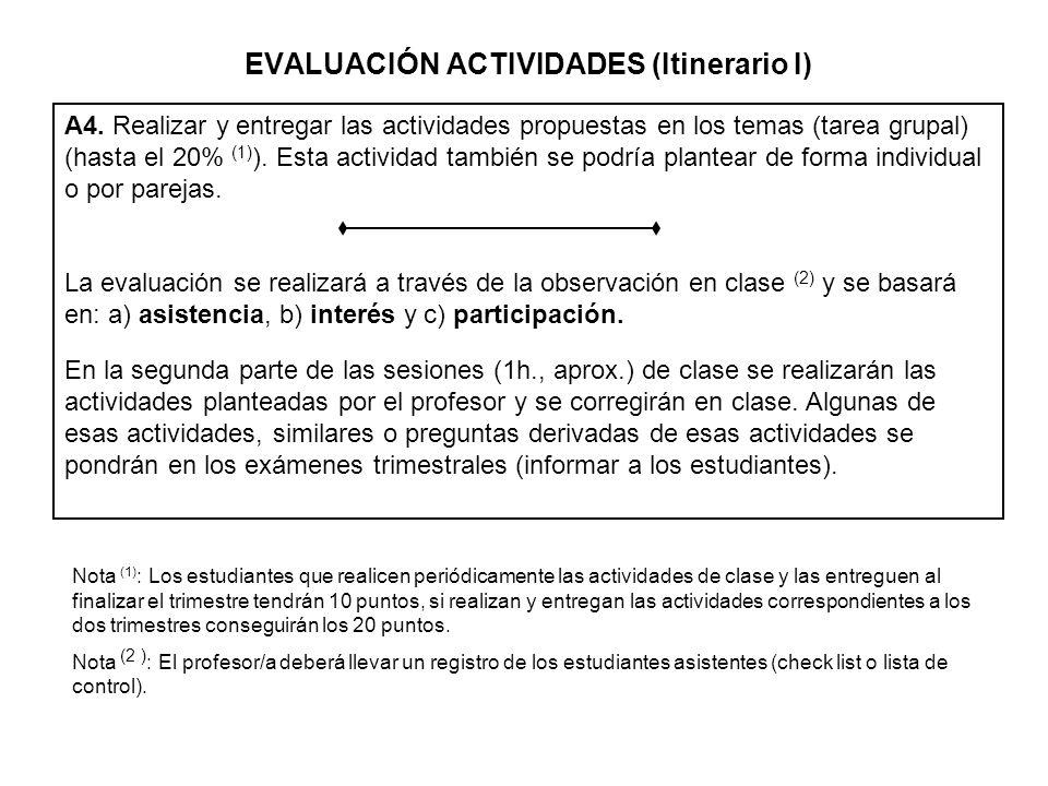 A4. Realizar y entregar las actividades propuestas en los temas (tarea grupal) (hasta el 20% (1) ). Esta actividad también se podría plantear de forma