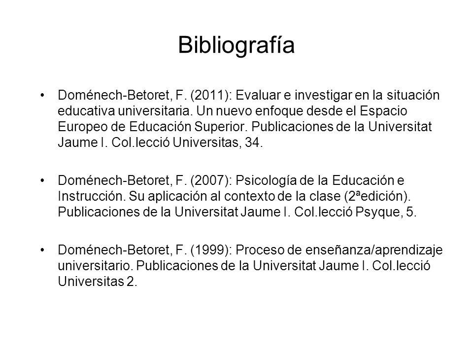 Bibliografía Doménech-Betoret, F. (2011): Evaluar e investigar en la situación educativa universitaria. Un nuevo enfoque desde el Espacio Europeo de E
