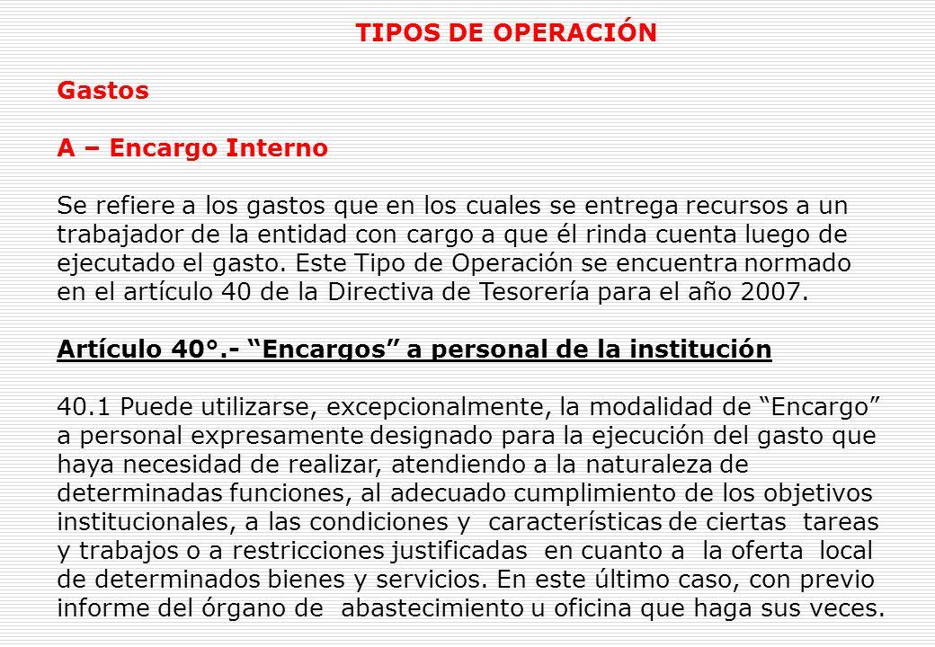 Ingresos Y – Operaciones Varias Este Tipo de Operación permite registrar las Operaciones de Ingresos con afectación presupuestal que perciben las Unidades Ejecutoras y las Municipalidades.