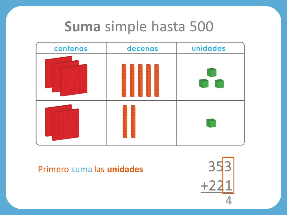 353 +221 4 Suma simple hasta 500 Primero suma las unidades