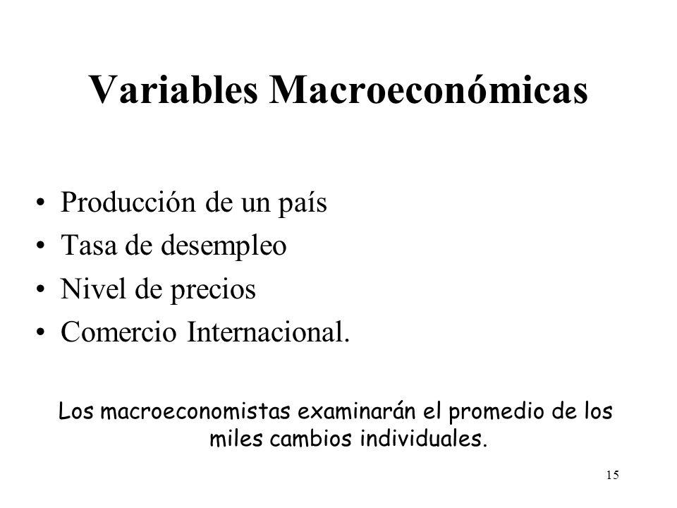 14 Medidas de producción agregada Dado que analizamos la economía en su conjunto, necesitamos variables que agreguen items heterogéneos.