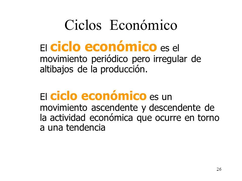 25 Tasa de Crecimiento de una Economía Por ejemplo si el PIB en el 2001 es de 200 u.m. y en el 2002 es de 210 u.m., la tasa de crecimiento: (210-200)*
