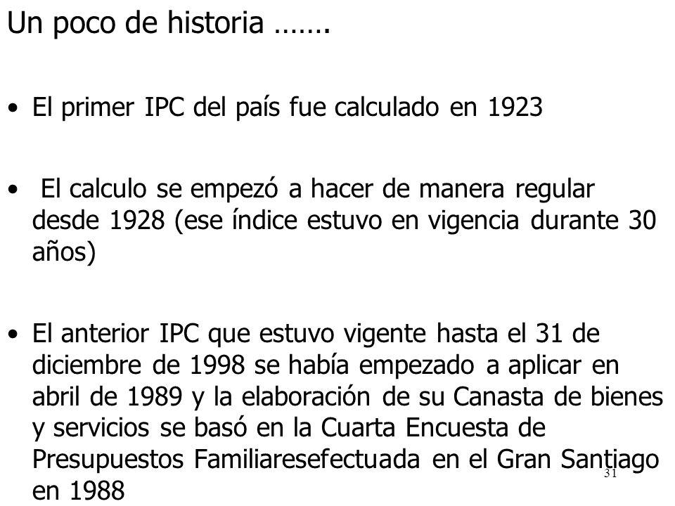 30 ¿Qué es el IPC? Es un indicador que permite seguir mes a mes la evolución de inflación, motivo por el cual es ampliamente utilizado Su principal ob