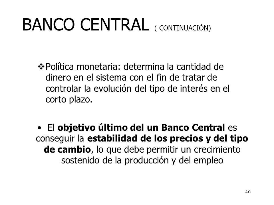 45 BANCO CENTRAL Emisión y puesta en circulación (o retirada) de la moneda de curso legal. Banco de bancos: Custodia de las reservas de los bancos com