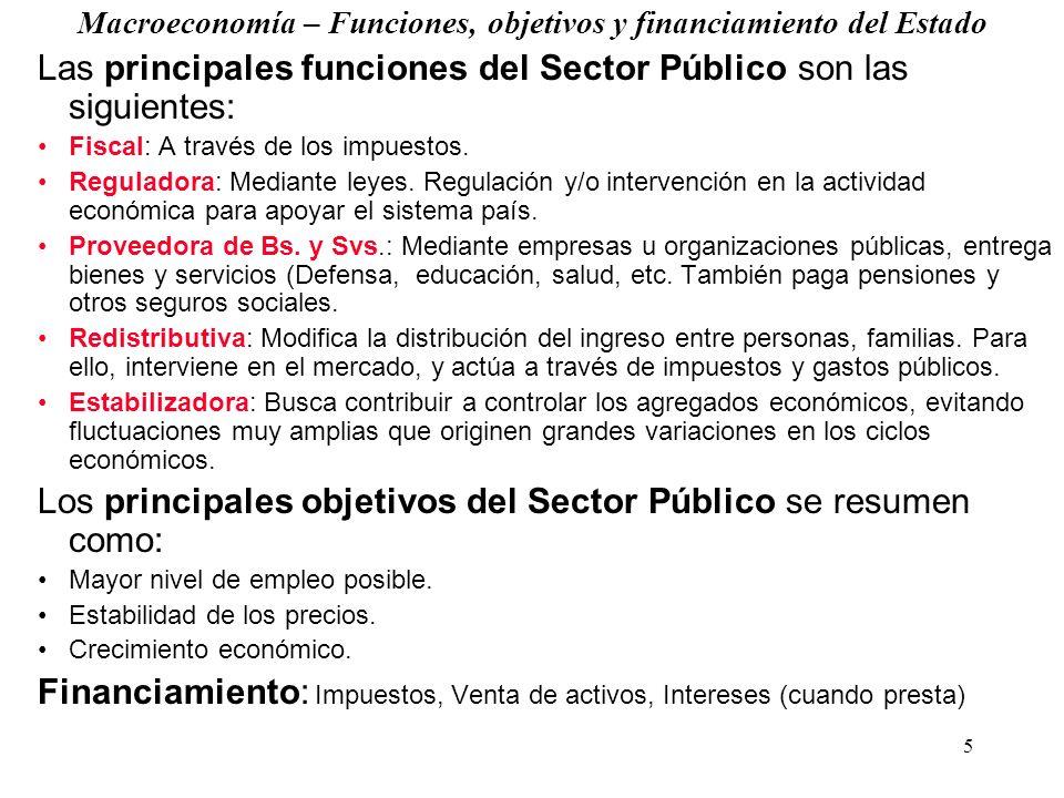 5 Macroeconomía – Funciones, objetivos y financiamiento del Estado Las principales funciones del Sector Público son las siguientes: Fiscal: A través de los impuestos.