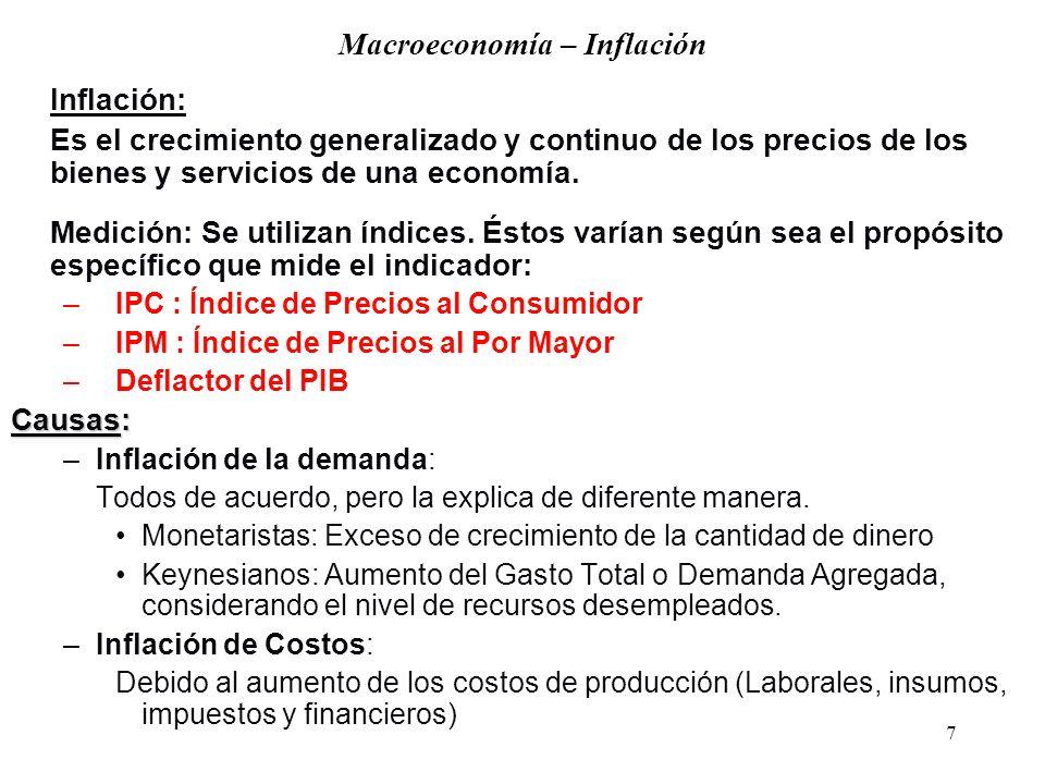 7 Macroeconomía – Inflación Inflación: Es el crecimiento generalizado y continuo de los precios de los bienes y servicios de una economía.