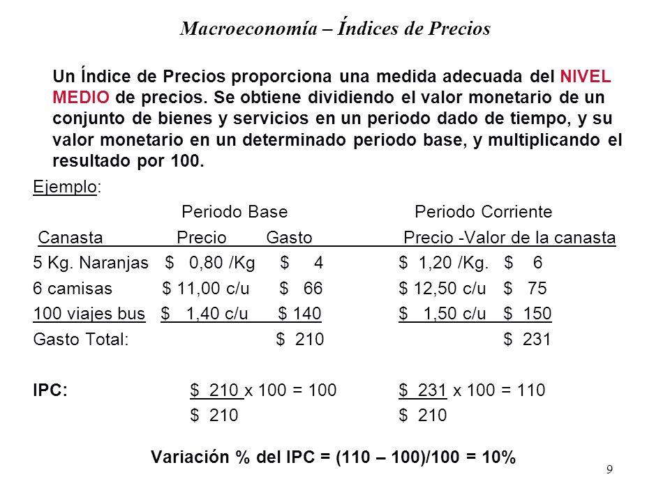 9 Macroeconomía – Índices de Precios Un Índice de Precios proporciona una medida adecuada del NIVEL MEDIO de precios.