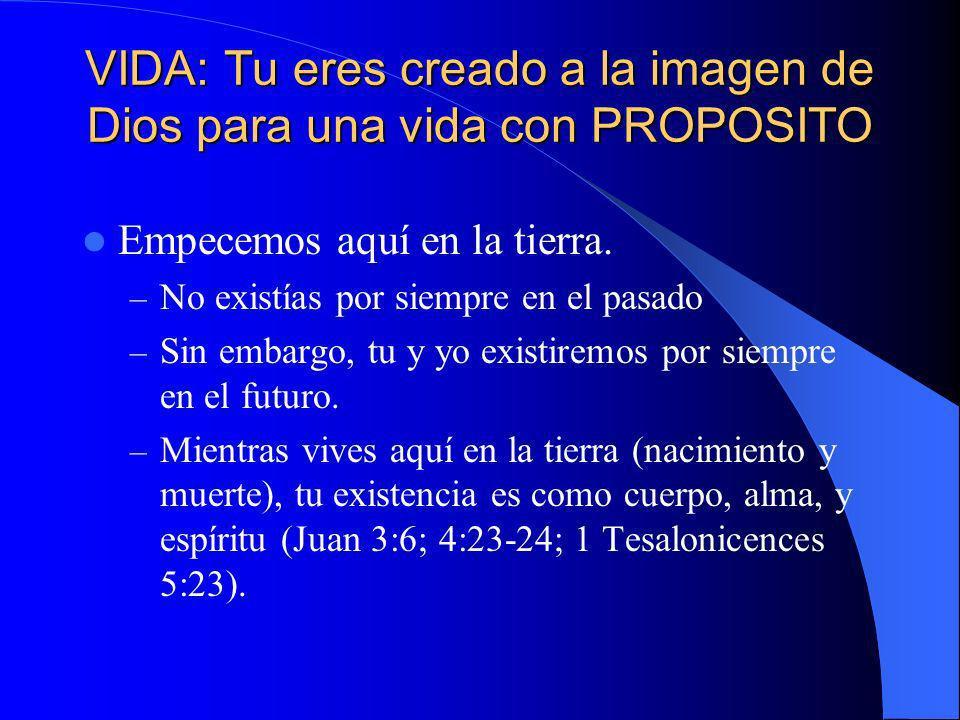 VIDA: Tu eres creado a la imagen de Dios para una vida con PROPOSITO Empecemos aquí en la tierra. – No existías por siempre en el pasado – Sin embargo