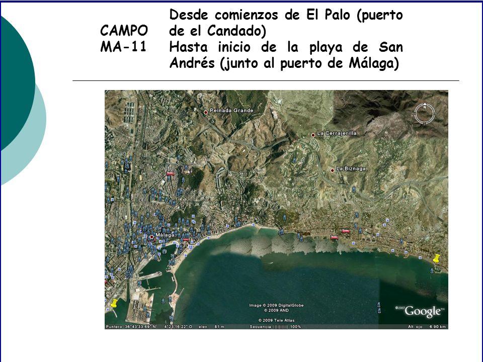 CAMPO MA-11 Desde comienzos de El Palo (puerto de el Candado) Hasta inicio de la playa de San Andrés (junto al puerto de Málaga)