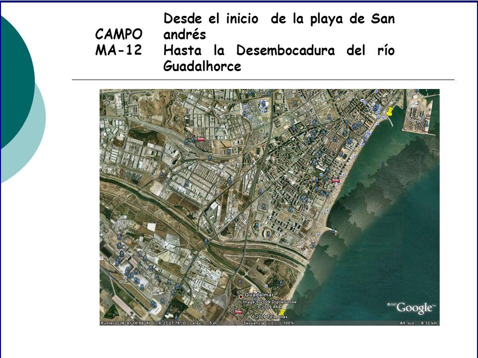 CAMPO MA-12 Desde el inicio de la playa de San andrés Hasta la Desembocadura del río Guadalhorce