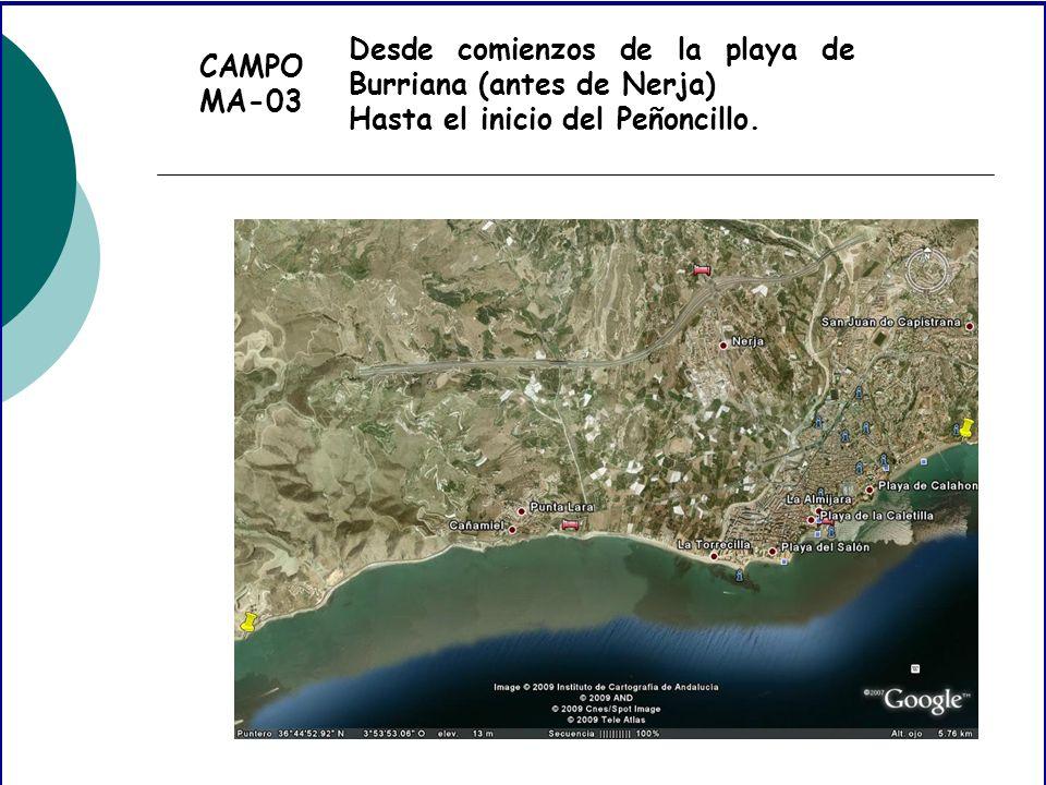 CAMPO MA-03 Desde comienzos de la playa de Burriana (antes de Nerja) Hasta el inicio del Peñoncillo.