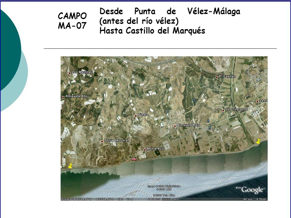 CAMPO MA-07 Desde Punta de Vélez-Málaga (antes del río vélez) Hasta Castillo del Marqués