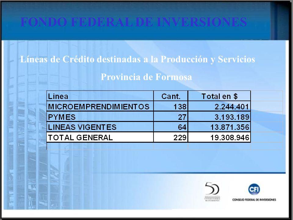 FONDO FEDERAL DE INVERSIONES Líneas de Crédito destinadas a la Producción y Servicios Provincia de Formosa