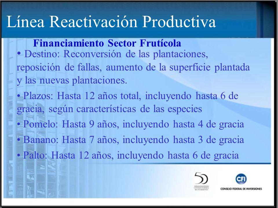 Destino: Reconversión de las plantaciones, reposición de fallas, aumento de la superficie plantada y las nuevas plantaciones. Plazos: Hasta 12 años to
